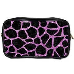 Skin1 Black Marble & Purple Glitter Toiletries Bags 2 Side by trendistuff