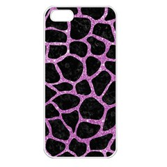 Skin1 Black Marble & Purple Glitter Apple Iphone 5 Seamless Case (white) by trendistuff