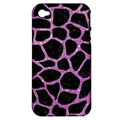 Skin1 Black Marble & Purple Glitter Apple Iphone 4/4s Hardshell Case (pc+silicone) by trendistuff