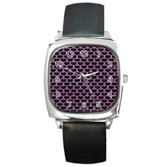 Scales3 Black Marble & Purple Glitter (r) Square Metal Watch by trendistuff