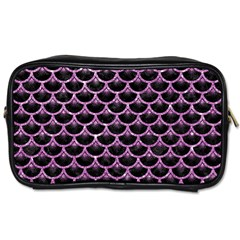 Scales3 Black Marble & Purple Glitter (r) Toiletries Bags 2 Side by trendistuff