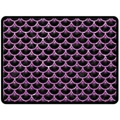 Scales3 Black Marble & Purple Glitter (r) Fleece Blanket (large)  by trendistuff