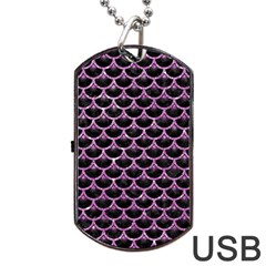 Scales3 Black Marble & Purple Glitter (r) Dog Tag Usb Flash (two Sides) by trendistuff