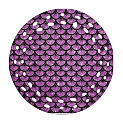Scales3 Black Marble & Purple Glitter Round Filigree Ornament (two Sides) by trendistuff