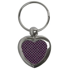 Scales2 Black Marble & Purple Glitter (r) Key Chains (heart)  by trendistuff