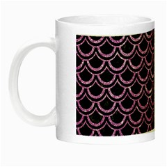 Scales2 Black Marble & Purple Glitter (r) Night Luminous Mugs by trendistuff