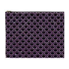 Scales2 Black Marble & Purple Glitter (r) Cosmetic Bag (xl) by trendistuff