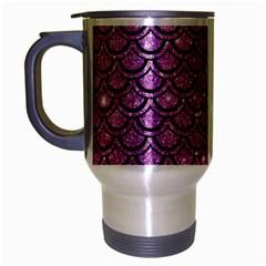 Scales2 Black Marble & Purple Glitter Travel Mug (silver Gray) by trendistuff