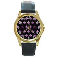 Royal1 Black Marble & Purple Glitter Round Gold Metal Watch by trendistuff