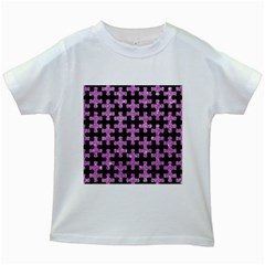 Puzzle1 Black Marble & Purple Glitter Kids White T Shirts by trendistuff
