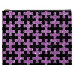 Puzzle1 Black Marble & Purple Glitter Cosmetic Bag (xxxl)  by trendistuff