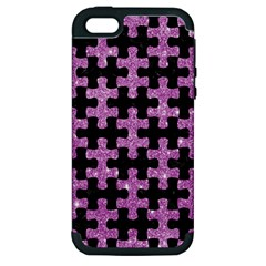 Puzzle1 Black Marble & Purple Glitter Apple Iphone 5 Hardshell Case (pc+silicone) by trendistuff