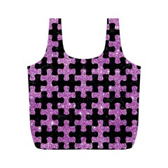 Puzzle1 Black Marble & Purple Glitter Full Print Recycle Bags (m)  by trendistuff