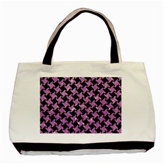 Houndstooth2 Black Marble & Purple Glitter Basic Tote Bag (two Sides) by trendistuff