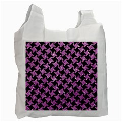 Houndstooth2 Black Marble & Purple Glitter Recycle Bag (two Side)  by trendistuff