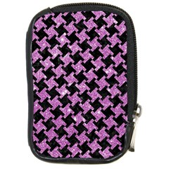 Houndstooth2 Black Marble & Purple Glitter Compact Camera Cases by trendistuff