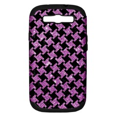 Houndstooth2 Black Marble & Purple Glitter Samsung Galaxy S Iii Hardshell Case (pc+silicone) by trendistuff