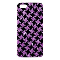 Houndstooth2 Black Marble & Purple Glitter Apple Iphone 5 Premium Hardshell Case by trendistuff