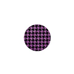 Houndstooth1 Black Marble & Purple Glitter 1  Mini Magnets by trendistuff