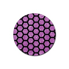 Hexagon2 Black Marble & Purple Glitter Rubber Coaster (round)  by trendistuff