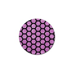 Hexagon2 Black Marble & Purple Glitter Golf Ball Marker (10 Pack) by trendistuff