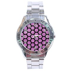 Hexagon2 Black Marble & Purple Glitter Stainless Steel Analogue Watch by trendistuff