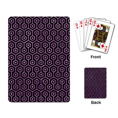 Hexagon1 Black Marble & Purple Glitter (r) Playing Card by trendistuff