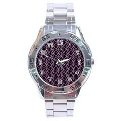 Hexagon1 Black Marble & Purple Glitter (r) Stainless Steel Analogue Watch by trendistuff