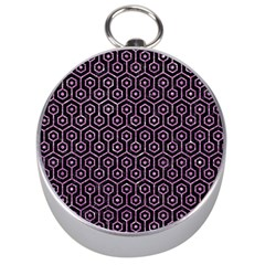 Hexagon1 Black Marble & Purple Glitter (r) Silver Compasses by trendistuff