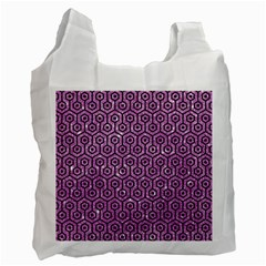 Hexagon1 Black Marble & Purple Glitter Recycle Bag (two Side)  by trendistuff