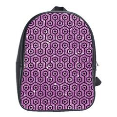 Hexagon1 Black Marble & Purple Glitter School Bag (large) by trendistuff