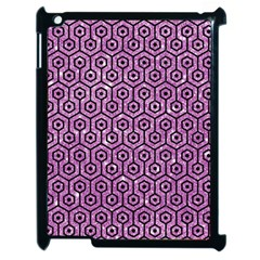 Hexagon1 Black Marble & Purple Glitter Apple Ipad 2 Case (black) by trendistuff