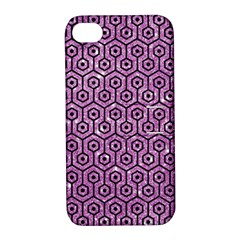 Hexagon1 Black Marble & Purple Glitter Apple Iphone 4/4s Hardshell Case With Stand by trendistuff