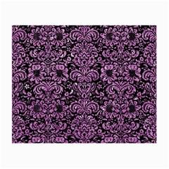 Damask2 Black Marble & Purple Glitter (r) Small Glasses Cloth by trendistuff