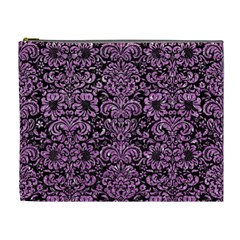 Damask2 Black Marble & Purple Glitter (r) Cosmetic Bag (xl) by trendistuff