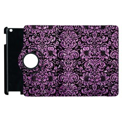 Damask2 Black Marble & Purple Glitter (r) Apple Ipad 3/4 Flip 360 Case by trendistuff