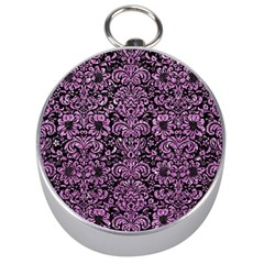 Damask2 Black Marble & Purple Glitter (r) Silver Compasses by trendistuff