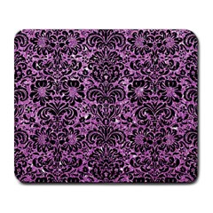 Damask2 Black Marble & Purple Glitter Large Mousepads by trendistuff