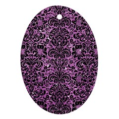 Damask2 Black Marble & Purple Glitter Oval Ornament (two Sides)