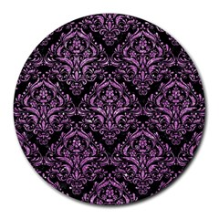 Damask1 Black Marble & Purple Glitter (r) Round Mousepads