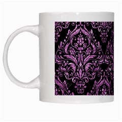 Damask1 Black Marble & Purple Glitter (r) White Mugs by trendistuff