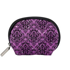 Damask1 Black Marble & Purple Glitter Accessory Pouches (small)  by trendistuff