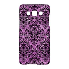Damask1 Black Marble & Purple Glitter Samsung Galaxy A5 Hardshell Case  by trendistuff
