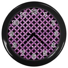 Circles3 Black Marble & Purple Glitter (r) Wall Clocks (black) by trendistuff