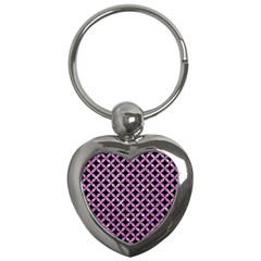 Circles3 Black Marble & Purple Glitter (r) Key Chains (heart)  by trendistuff