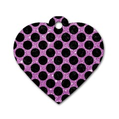 Circles2 Black Marble & Purple Glitter Dog Tag Heart (one Side) by trendistuff