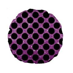 Circles2 Black Marble & Purple Glitter Standard 15  Premium Round Cushions by trendistuff