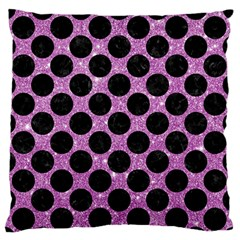 Circles2 Black Marble & Purple Glitter Large Flano Cushion Case (one Side) by trendistuff