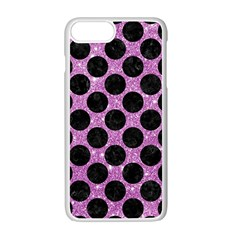 Circles2 Black Marble & Purple Glitter Apple Iphone 7 Plus Seamless Case (white) by trendistuff