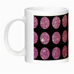 Circles1 Black Marble & Purple Glitter (r) Night Luminous Mugs by trendistuff